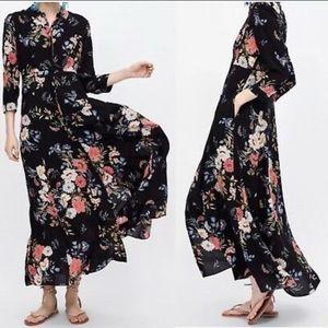 Zara FLORAL Maxi Shirt Dress